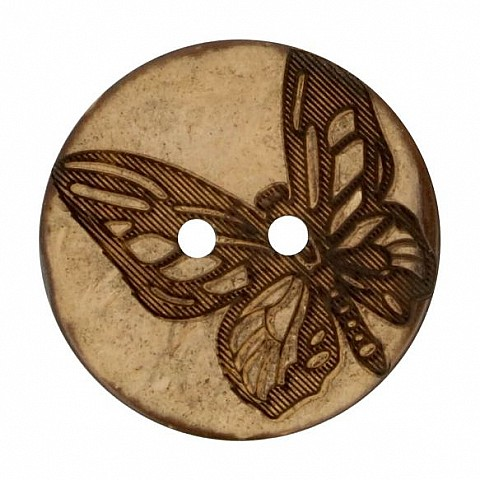 button coconut lasered butterfly 25mm