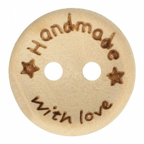 WOODEN BUTTON HANDMADE WITH LOVE 15MM