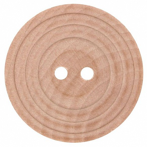 Wooden button with rim