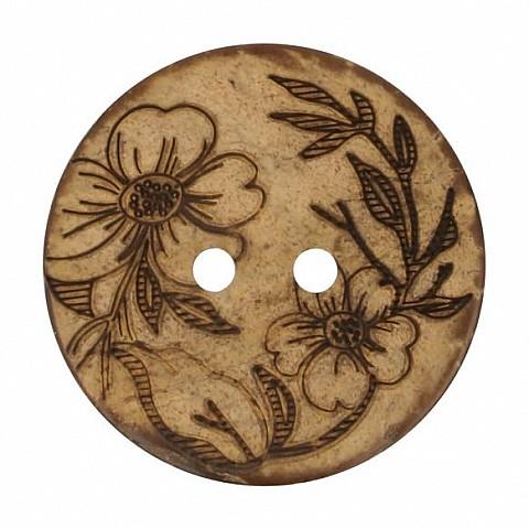 Button Coconut lasered flower 30mm
